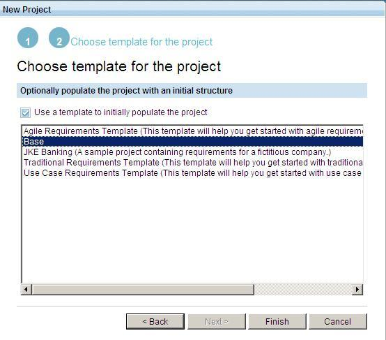 Select Project Template screen capture