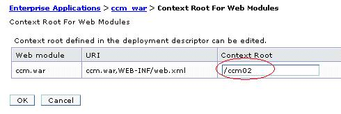 Context Root for Web Modules - /ccm02