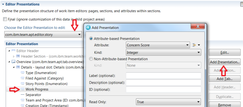 Add presentations for new attributes to Story editor