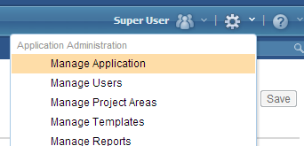 Using Manage Application link from tools menu
