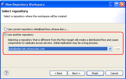 User can pick the repository where the workspace will be created