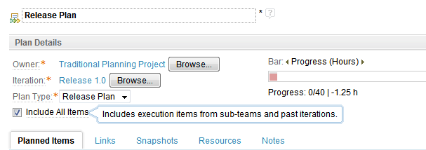 Configure a plan to show execution items