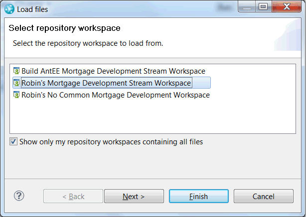 Select repository workspace