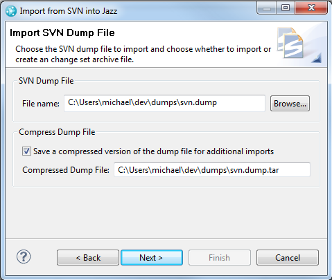 Select the SVN Dump File