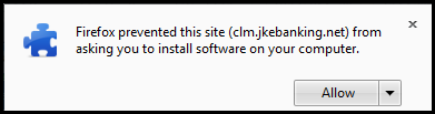 Firefox prevented this site from asking you to install        software on your computer.