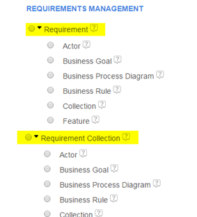RM artifact types grouped under Requirement and Requirement Collection headings in Report Builder