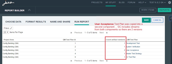 Red box around the Count artifact versions column in the Run Report section in Report Builder