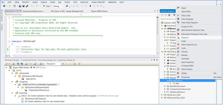 Rational Team Concert Client for Microsoft Visual Studio