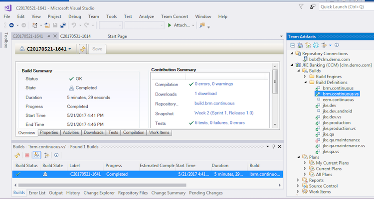 Builds in the Visual Studio Client