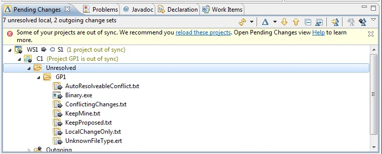 Improved out of sync project handling for Jazz SCM - Library