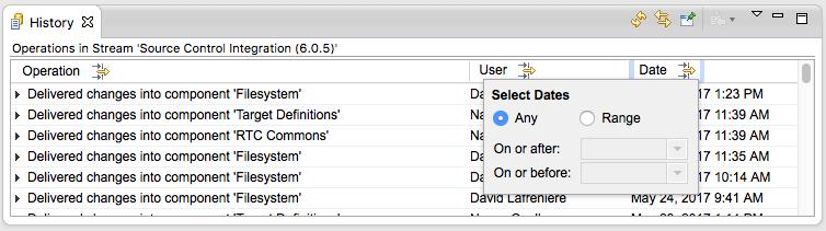 Date filter dialog