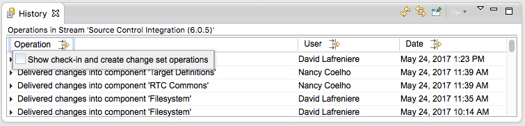 Operation type filter dialog