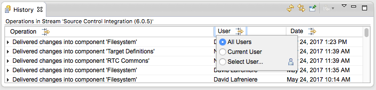 User filter dialog