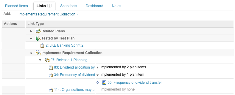 Tracking requirements and implementing plan items in the plan links tab