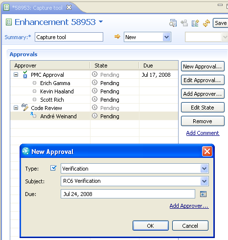 Approvals in the Work Item Editor