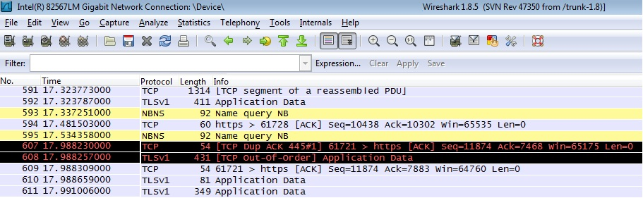 Wireshark Sample Output