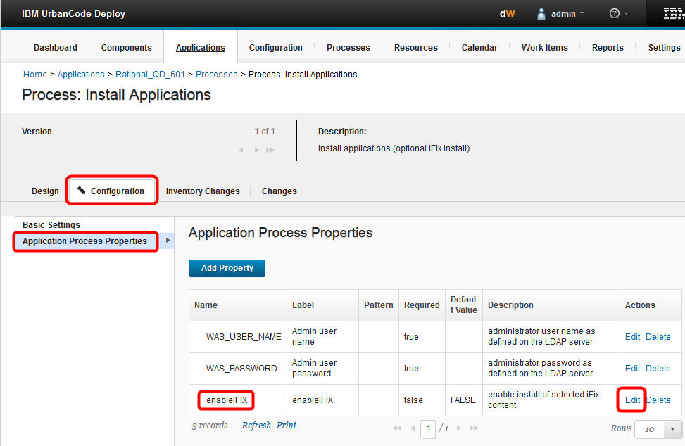 edit Application Process Properties